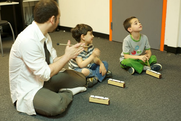 Students at the Bach to Rock music franchise start learning in groups at a very young age.