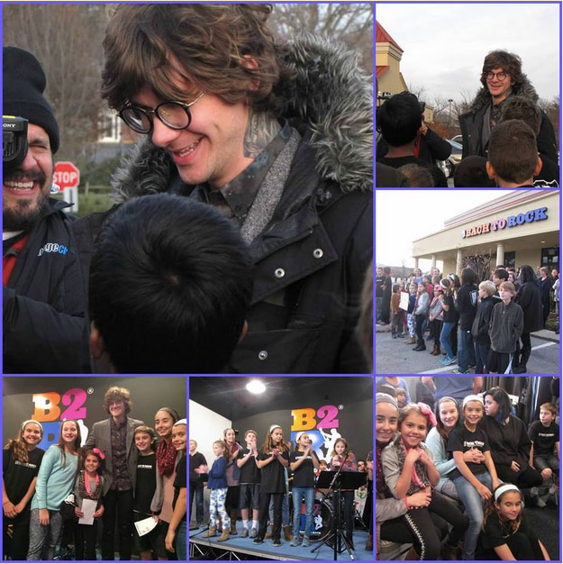 Matt McAndrew, standout contestant on The Voice, visits with former students at the Bach to Rock franchise school in Wayne, Pennsylvania, in early December.